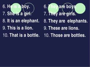 6. He is a boy. 7. She is a girl. 8. It is an elephant. 9. This is a lion. 10