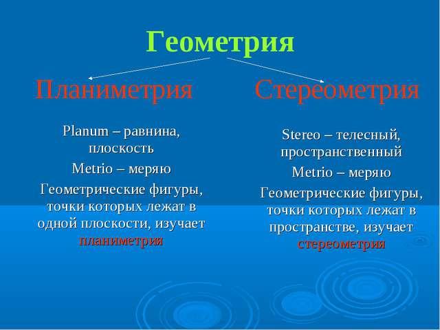 Геометрия Планиметрия Стереометрия Planum – равнина, плоскость Metrio – меряю...