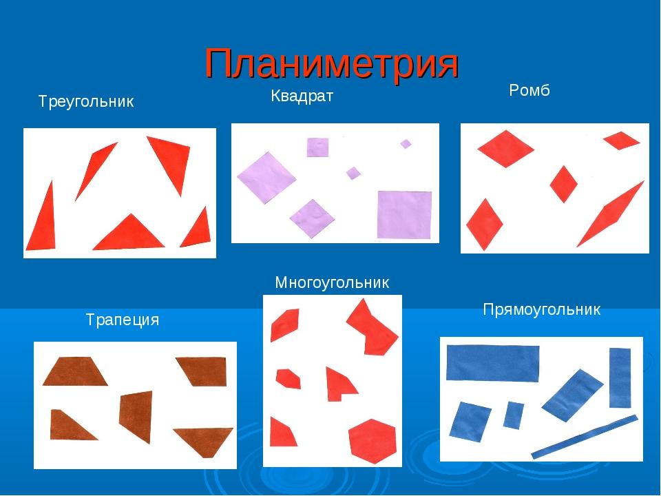 Планиметрия Трапеция Ромб Треугольник Прямоугольник Квадрат Многоугольник