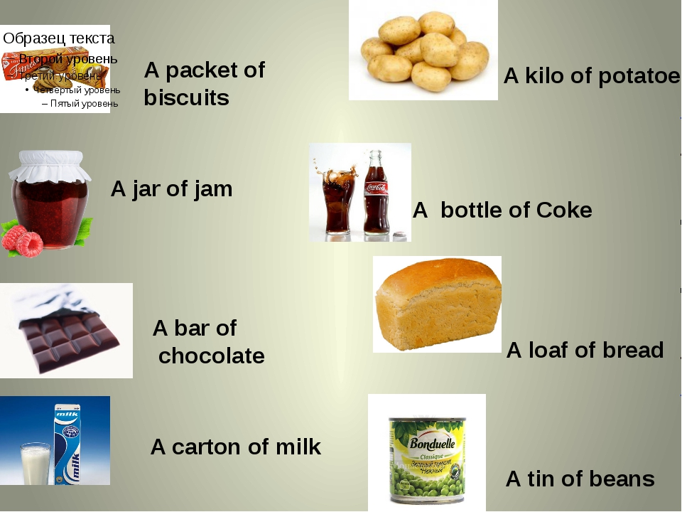 A packet of biscuits A jar of jam A bar of chocolate A carton of milk A kilo...