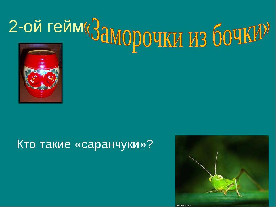 2-ой гейм Кто такие «саранчуки»?