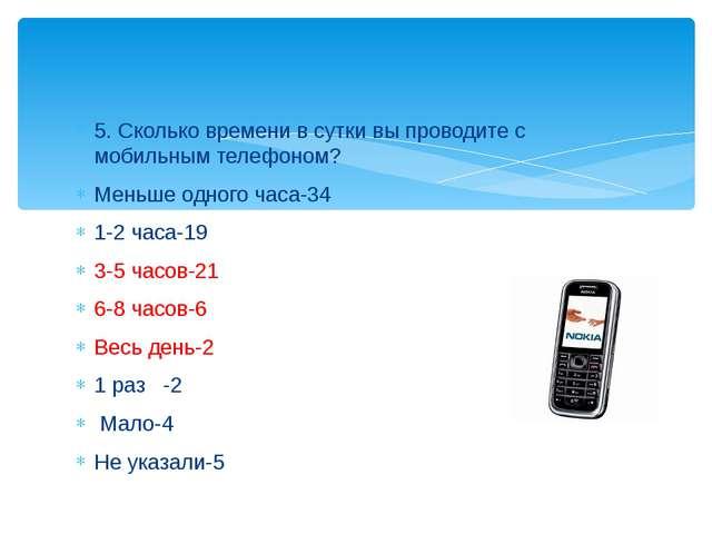 5. Сколько времени в сутки вы проводите с мобильным телефоном? Меньше одного...