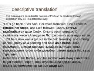 descriptive translation The meaning of a considerable number of PhU can be r