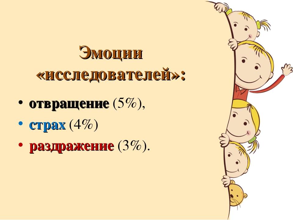 отвращение (5%),  отвращение (5%),  страх (4%)  раздражение (3%).