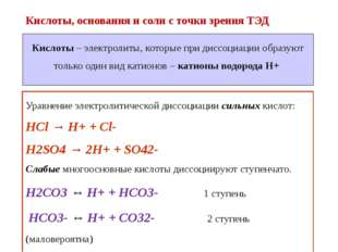 Кислоты, основания и соли с точки зрения ТЭД Уравнение электролитической дисс