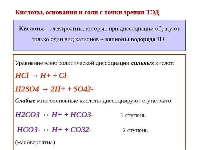 Кислоты, основания и соли с точки зрения ТЭД Уравнение электролитической дисс...