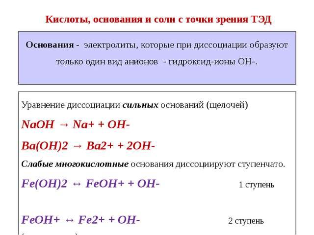 Уравнение диссоциации сильных оснований (щелочей) NaOH → Na+ + OH- Ba(OH)2 →...