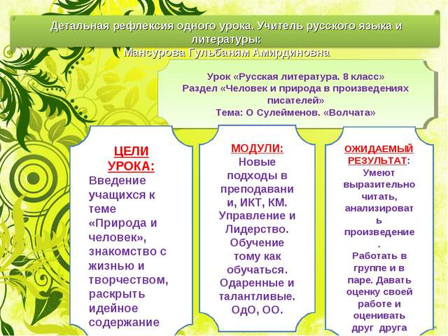 Урок «Русская литература. 8 класс» Раздел «Человек и природа в произведениях...