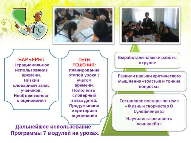 Планы на будущее Дальнейшее использование Программы 7 модулей на уроках. БАРЬ...