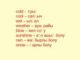 cold - суық cool – салқын wet – ылғал weather – ауа- райы blow – жел соғу su