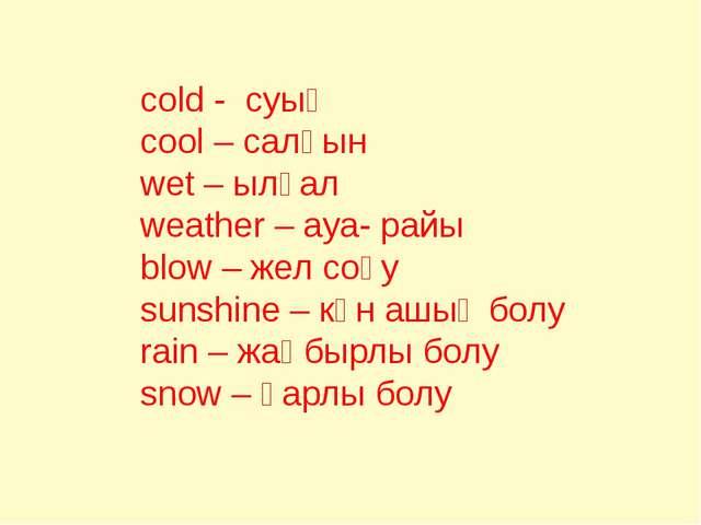 cold - суық cool – салқын wet – ылғал weather – ауа- райы blow – жел соғу su...