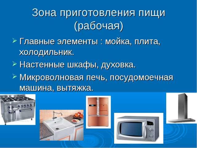 Зона приготовления пищи (рабочая) Главные элементы : мойка, плита, холодильни...