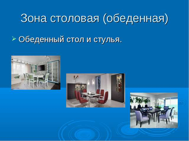 Зона столовая (обеденная) Обеденный стол и стулья.