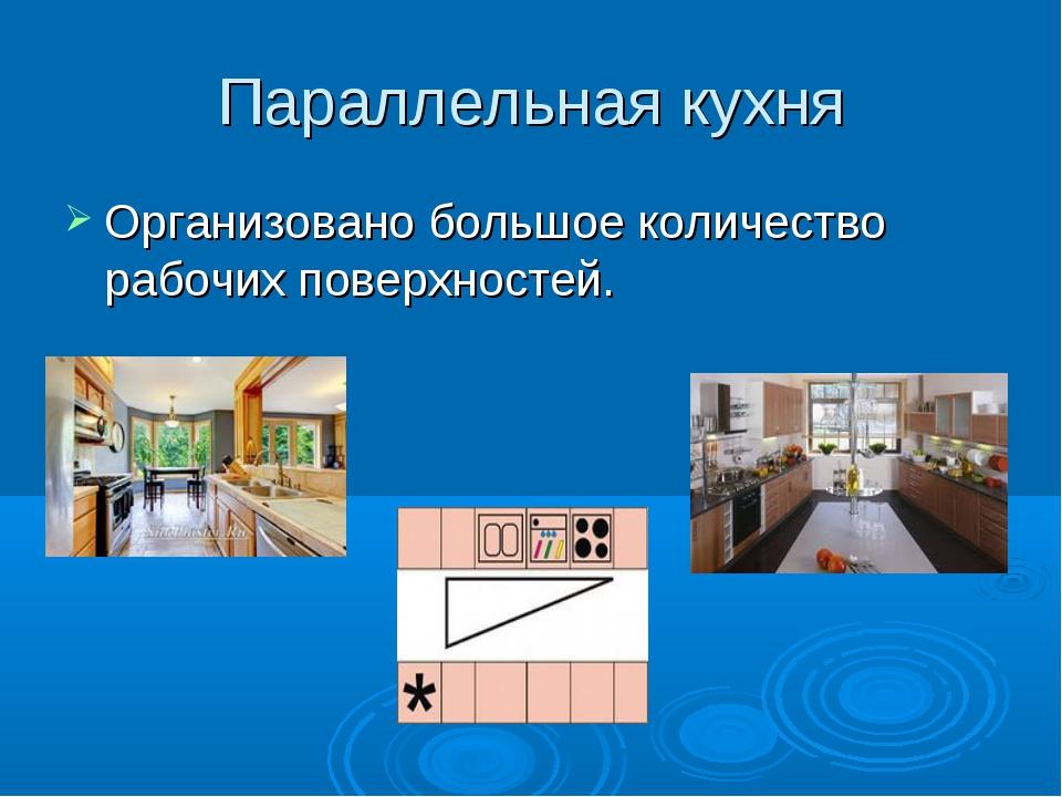 Параллельная кухня Организовано большое количество рабочих поверхностей.