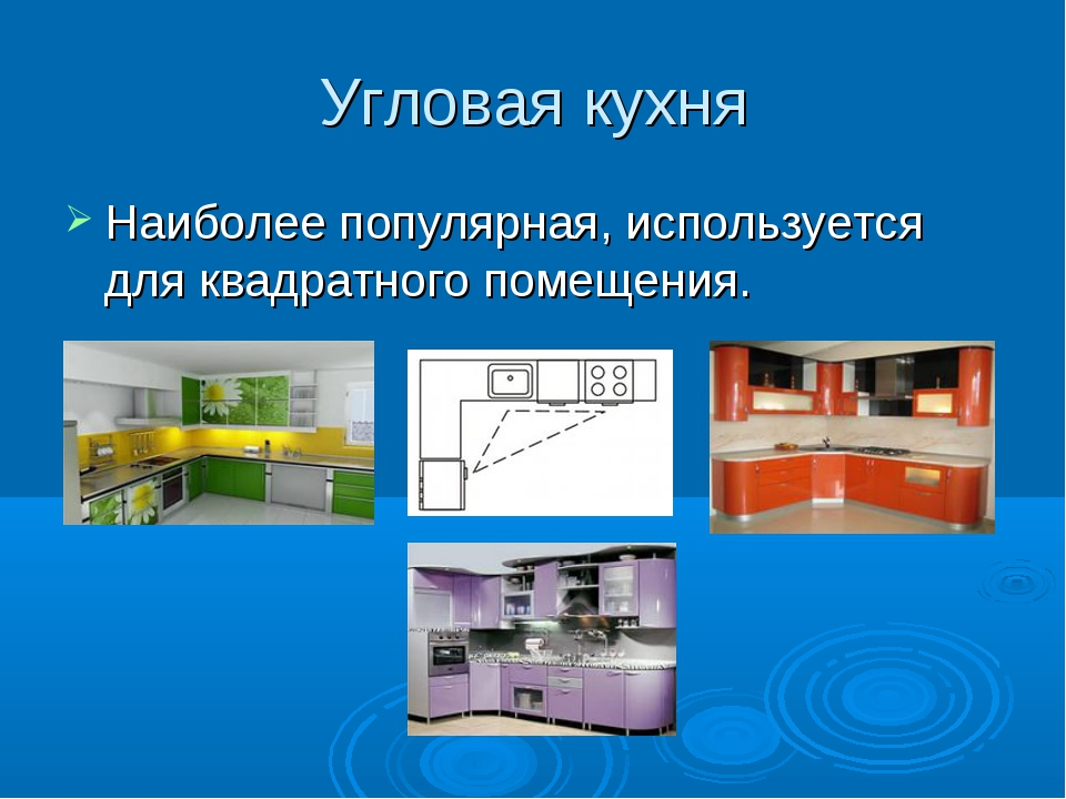 Угловая кухня Наиболее популярная, используется для квадратного помещения.