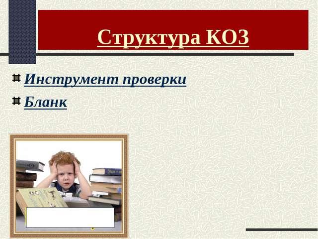 Структура КОЗ Инструмент проверки Бланк