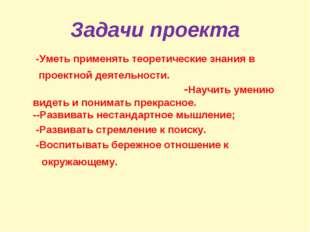 Задачи проекта -Уметь применять теоретические знания в проектной деятельности