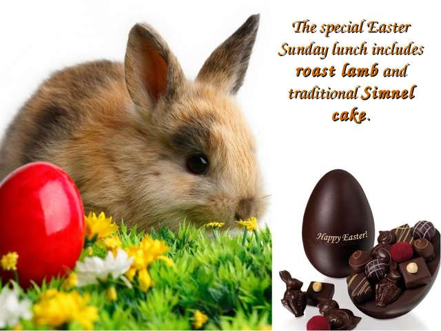 The special Easter Sunday lunch includes roast lamb and traditional Simnel ca...