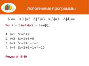 Исполнение программы For i := 1 to 4 do S := S+A[i]; I=1 S:=0+2 I=2 S:=2+3=5