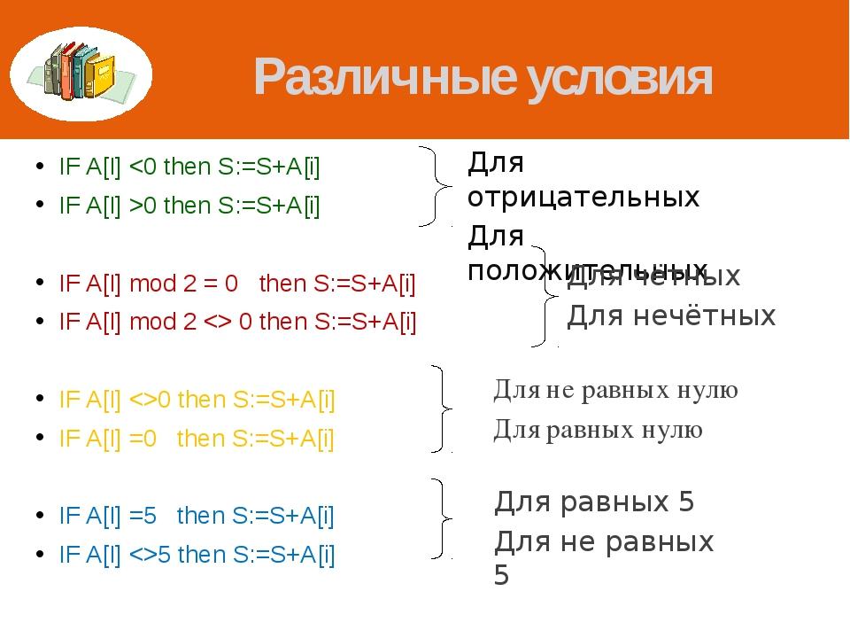 Различные условия IF A[I] 0 then S:=S+A[i] IF A[I] mod 2 = 0 then S:=S+A[i] I...