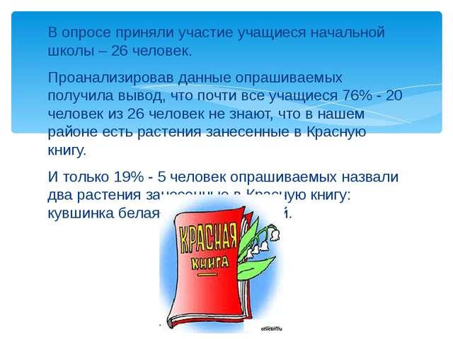 В опросе приняли участие учащиеся начальной школы – 26 человек. Проанализиров...