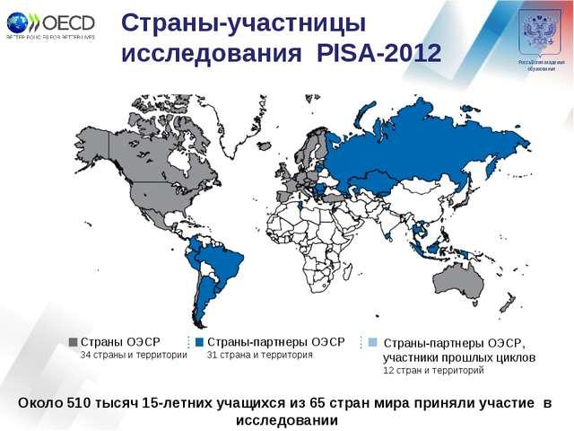 Страны-участницы исследования PISA-2012 Страны ОЭСР 34 страны и территории Ст...