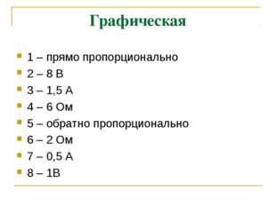 Графическая 1 – прямо пропорционально 2 – 8 В 3 – 1,5 А 4 – 6 Ом 5 – обратно
