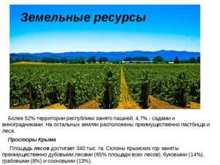 Более 52% территории республики занято пашней, 4,7% - садами и виноградникам
