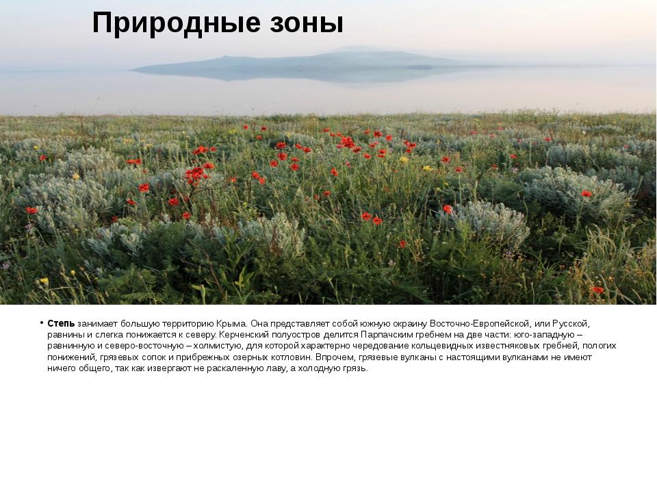 Степьзанимает большую территорию Крыма. Она представляет собой южную окраину...