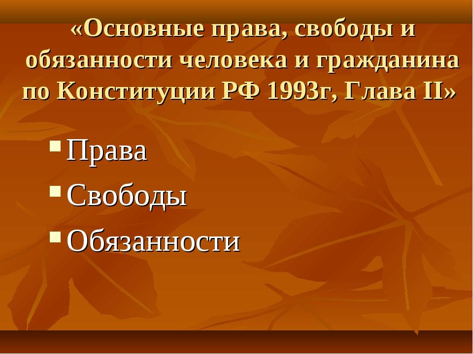 «Основные права, свободы и обязанности человека и гражданина по Конституции Р...