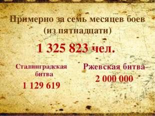 Сталинградская битва 1 129 619 Ржевская битва 2 000 000 Примерно за семь ме