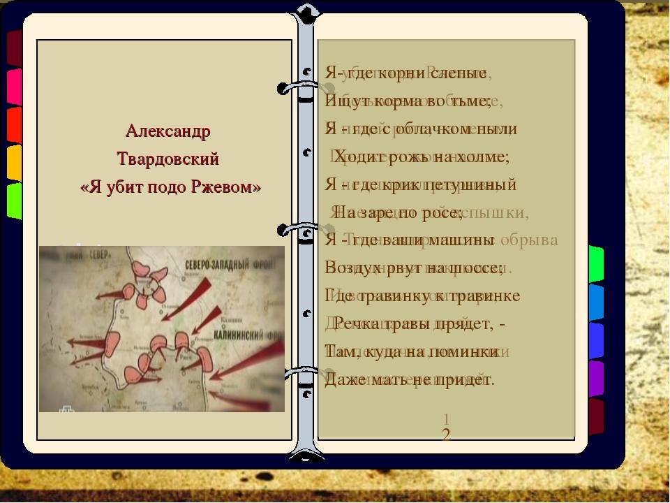 Александр Твардовский «Я убит подо Ржевом» Я убит подо Ржевом, В безыменном б...