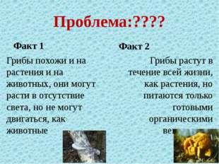 Проблема:???? Факт 1 Грибы похожи и на растения и на животных, они могут раст