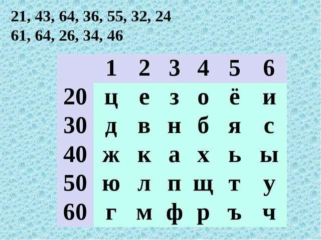21, 43, 64, 36, 55, 32, 24 61, 64, 26, 34, 46  1 2 3 4 5 6 20 ц е з о ё и 30...