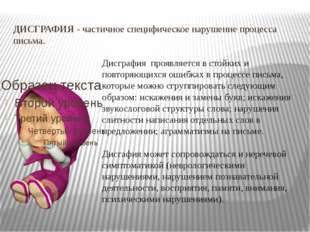 ДИСГРАФИЯ-частичное специфическое нарушение процесса письма. Дисграфияпро