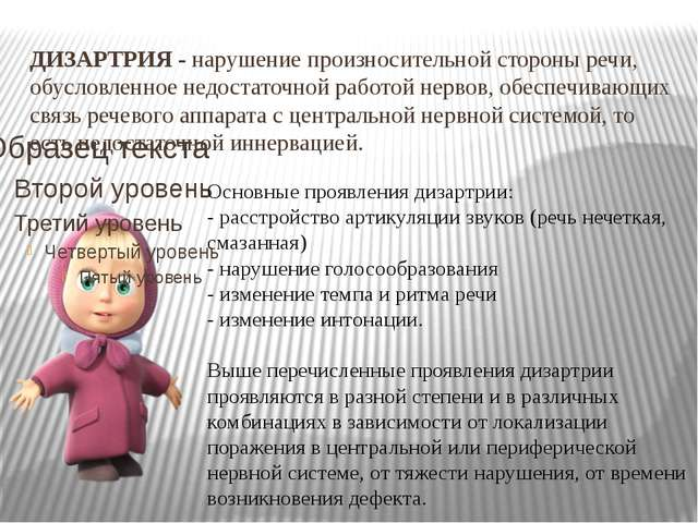 ДИЗАРТРИЯ-нарушение произносительной стороны речи, обусловленное недостаточ...