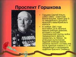 Проспект Горшкова Горшков Сергей Ильич (1902-1993) - советский военачальник,