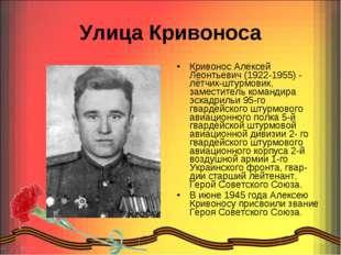 Улица Кривоноса Кривонос Алексей Леонтьевич (1922-1955) - лётчик-штурмовик, з