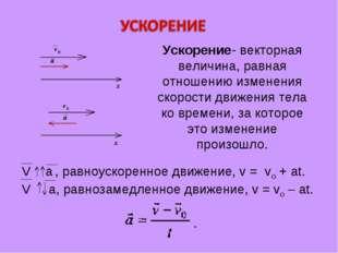 V a , равноускоренное движение, v = vо + at. V a, равнозамедленное движение,