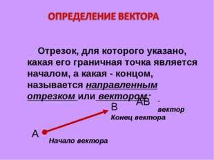 Отрезок, для которого указано, какая его граничная точка является началом, а