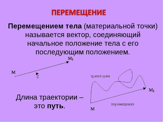 Перемещением тела (материальной точки) называется вектор, соединяющий начальн...