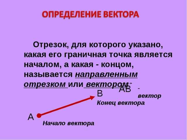 Отрезок, для которого указано, какая его граничная точка является началом, а...
