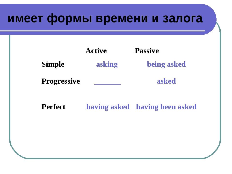 имеет формы времени и залога Active Passive Simple Progressive Perfectaski...