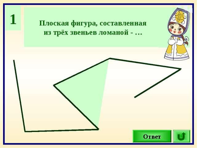 1 Плоская фигура, составленная из трёх звеньев ломаной - … Ответ