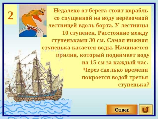 2 Недалеко от берега стоит корабль со спущенной на воду верёвочной лестницей...