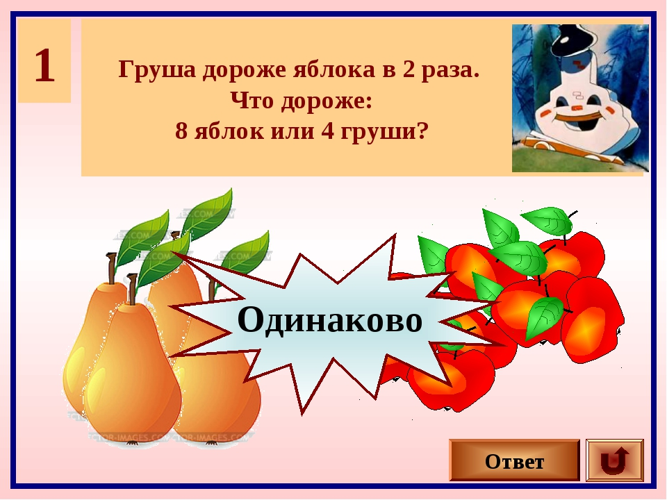 1 Груша дороже яблока в 2 раза. Что дороже: 8 яблок или 4 груши? Ответ Одинак...