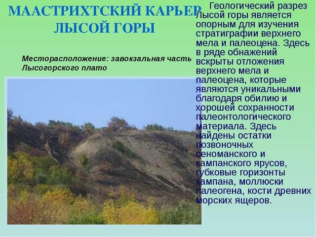 Месторасположение: завокзальная часть Лысогорского плато  Геологический разр...