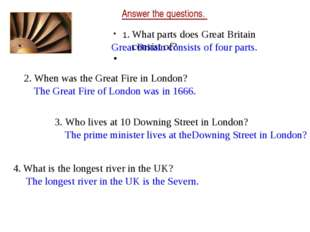 Answer the questions. 1. What parts does Great Britain consist of? 2. When wa
