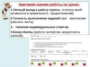 Критерии оценки работы на уроке: Личный вклад в работу группы (степень моей а