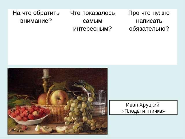 Иван Хруцкий «Плоды и птичка» На что обратить внимание?Что показалось самым...